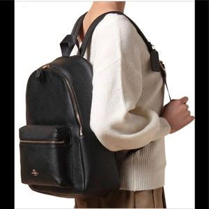 Large Black Leather COACH backpack purse